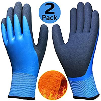 Cold Weather Work Gloves 2 Pairs, Superior Grip Waterproof Winter Gloves, Polar Fleece Liner Thermal Comfortable for Outdoor Fishing Garden Ice Snow Activities - Colorful