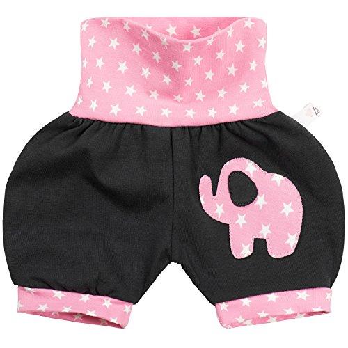 """Lilakind"""" Kurze Kinder-Hose Baby Shorts Buxe Sommerhose Elefanten Applikation Sterne Rosa Gr. 86/92- Made in Germany"""