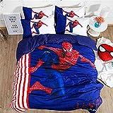 Juego de funda de edredón 3D Marve Spiderman de dibujos animados suave juego de cama – microfibra resistente a la decoloración, para niños, adultos, decoración de ropa de cama (K,135 x 200 cm)