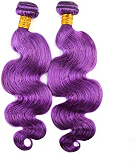 Bella Hair Remy Virgin Human Hair Body Wave, 12-26inch Purple Wavy Hair Weave Bundles for Black Women - 2 Bundles 16inch