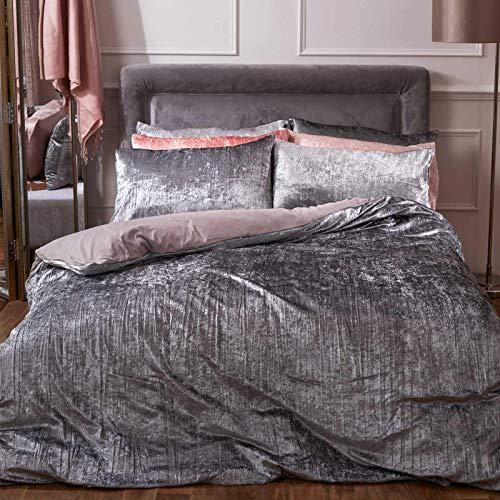 Sienna Crinkle fluwelen dekbedovertrek met kussensloop Valencia beddengoed, zilvergrijs, King