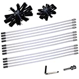 Dryer Vent Duct Cleaner Kit Chimney Cleaning Brush 6 inch 4 inch 2-in-1 Drier Lint Sweeping Tool 24' Flexible Rods Drill Attachment