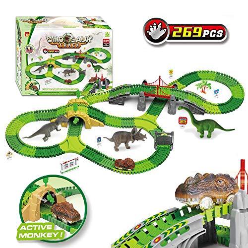 AJAMQ Autorennbahn Rennbahn Dinosaurier Für Kinder Junge Mädchen Über 3 Jahre Alt, 269 Stück Die Autorennbahn Jurassic Dino Welt Flexible Track Dinosaurier Pädagogisches Spielzeug Für Kinder