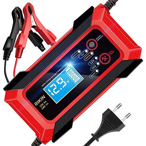 AOKBON Cargador de Baterías Coche 12V/24V 8A Cargadores de Bateria Automático Inteligente con Múltiples Protecciones para Coche Motocicletas ATVs RVs Barco