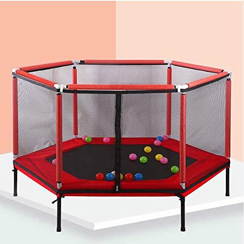Kids Junior Trampolines, Hexagon Trampoline Complete Set, Met Safety Net Behuizing En Foam Pad, Voor Indoor Outdoor Ronde Bouncer Sports Activity,Red
