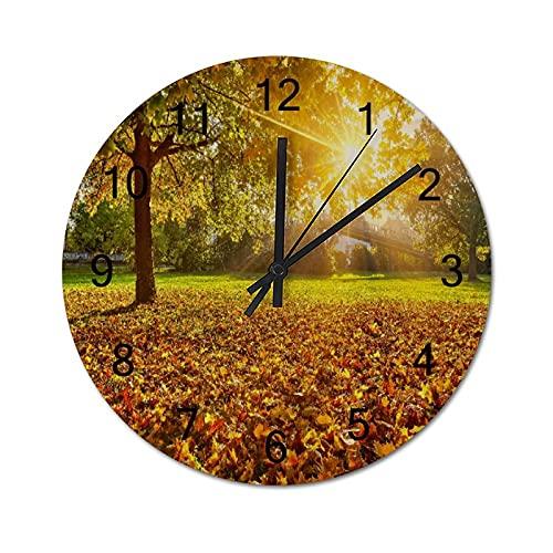 Reloj de Pared Digital Redondo,Modelo náutico Conchas de mar Caballo de,Decoración casera rústica silenciosa Que no Hace tictac con Pilas de Madera para la Sala de Estar de 10 Pulgadas