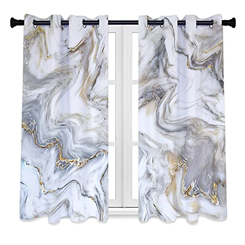 QIYI Grey Marble Texture Blackout Window Curtains, 2 Panels Grayish Grain Luxury Home Décor Living Room Bedroom Drapes, Wild Ripples Lines Light Blocking Room Darkening Window Coverings, 53 x 63 Inch