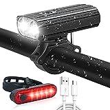 Luz Bicicleta Recargable USB, 1000 Lumens Potente Luces LED Bicicleta Delantera y Trasera, 2200 mAh 5 Modos, IP65 Impermeable Luces Seguridad para Todas Las Bicicletas