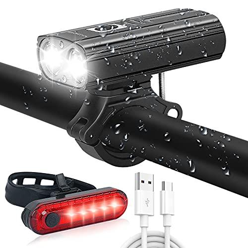 Luz Bicicleta Recargable USB, 1000 Lumens Luces Bicicleta Delantera y Trasera, 2200 mAh 5 Modos Linterna Bicicleta, IP65 Impermeable Luz Bicicleta para Ciclismo de Montaña y Carretera 🔥