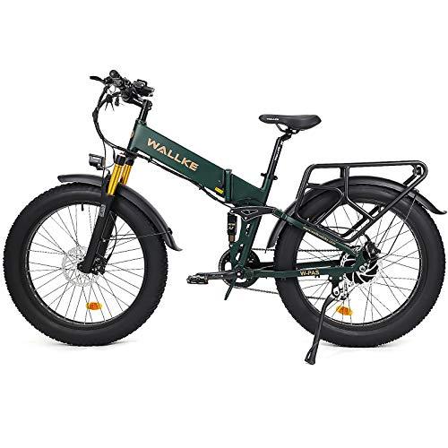 W Wallke 2021 Version X3 Pro Adult Electric Bike Fat Tire Mountain Ebike 750W Motor 14Ah Samsung Battery with Rear Rack