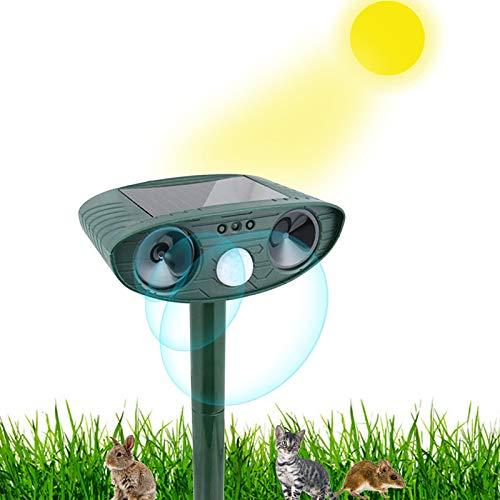 Jsdoin Repelente de animales solar resistente al agua, ahuyentador de animales al aire libre con sensor de movimiento y luces intermitentes para gatos, perros, animales salvajes, jardín, patio, granja