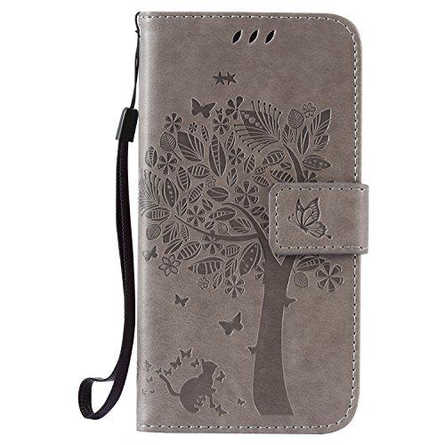 ISAKEN Kompatibel mit Galaxy S5 Hülle, PU Leder Flip Cover Brieftasche Geldbörse Wallet Case Handyhülle Tasche Schutzhülle Etui mit Handschlaufe Strap für Samsung Galaxy S5 Neo - Baum Katze Grau