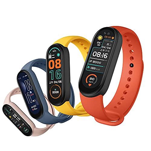 Tenglang 2021 Nuevo M6 Reloj de Pulsera Inteligente rastreador de Ejercicios para Hombres Mujeres Monitor de presión Arterial de frecuencia cardíaca Pantalla a Color con Bluetooth (Azul Oscuro)