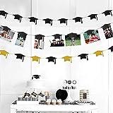 Decor365 Graduation Cap Garland and Magnet Photo Clip String Kit for Congrats Grad Party Decorations Centerpiece Gold Black Hanging Hat Cutouts Photo Display for Graduation Party Decor 2021
