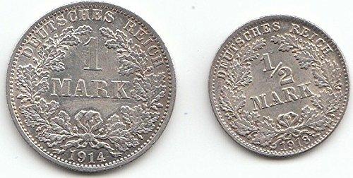 Deutsches Reich Kollektion Silbergeld 1. Weltkrieg sehr schön Silber Großer Reichsadler im Eich (Münzen für Sammler)