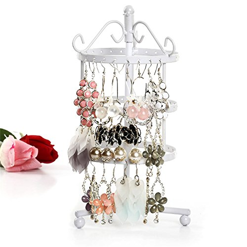 Da Dini Jewellery Stand 3-layer Jewelry Organizer With 72 Holes, Rotatable Jewelry Holder For Ring, Bracelet, Necklace, Earrings, Bronze