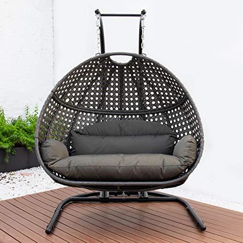 Harrier Hanging Egg Chair Swing – 2 Sizes | Indoor Outdoor Patio Garden Chair – Freestanding Rattan Egg Chair With...