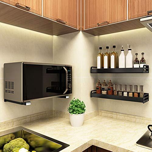 304 Stainless Steel Sturdy Microwave Shelf Bracket Wall Mount Kit Foldable Stretch Wall Mounted Rack Shelf Oven Stand Shelf Rack 2Piece with Screws