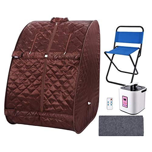 Portable Personal Sauna2L Home Steam Sauna Tent Folding Indoor Sauna Spa Weight Loss Detox with Remote Control, Timer, Foldable Chair