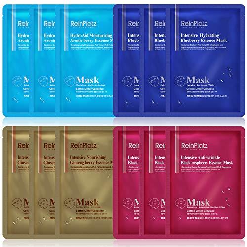 ReinPlatz Foglio maschera viso idratante intensivo, idratante, antirughe, nutriente 25 g x 1 dz (3 fogli ciascuno in confezione