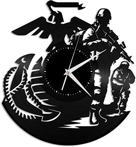 KDBWYC Orologio da Parete in Vinile Blu Marino retrò Militare | Arredamento per la casa dell'ufficio Design retrò Office Bar Room Home Decor
