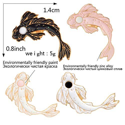 JTXZD broche 4 stks/set Lucky Koi Emaille pin Wit roze zwarte vis broches Denim Jeans cap tas op Pin Badge Lapel pin voor kinderen