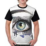 Man's T Shirts,Hand Painting Style Eye of A Woman Looking Up Abstract Art Design with Brushstrokes S