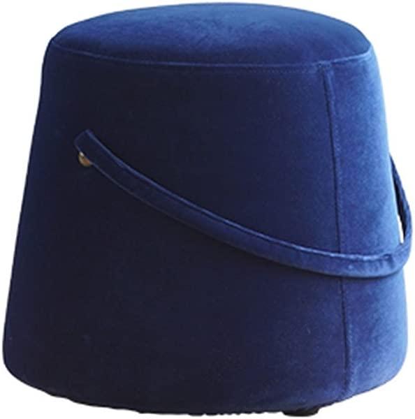 WZ Ottomans Upholstered Footstool Portable Design Luxury Ottoman Makeup Stool Flannel Living Room Bedroom 29cmx33cmx36cm Color Blue