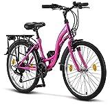 Licorne Bike Stella Premium City Bike in 24 Zoll - Fahrrad für Mädchen, Jungen, Herren und Damen - Shimano 21 Gang-Schaltung - Hollandfahrrad - Rosa