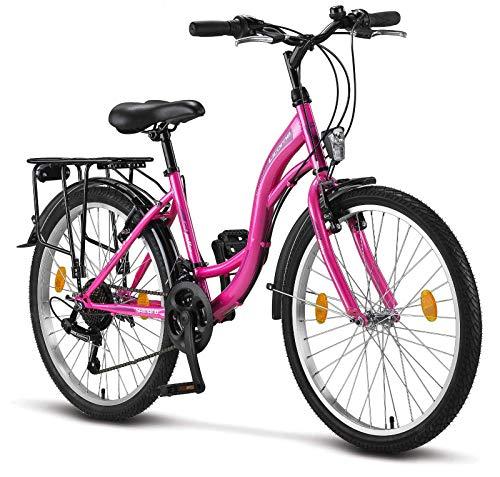 Stella, bicicletta da donna, 24', 26', 28', luce per bicicletta, cambio Shimano a 21 velocità, citybike, da donna, ragazza, Firenze, Amsterdam, Olanda, stile retrò, Bambina Donna, Colore: rosa., 24