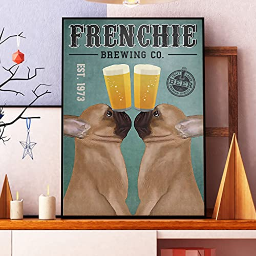 Funny Cosmos French Bulldog Poster, Frenchie Brewing Co Poster, Beer Style Poster, Bar Decor for Home Wall (Poster-16 x24)