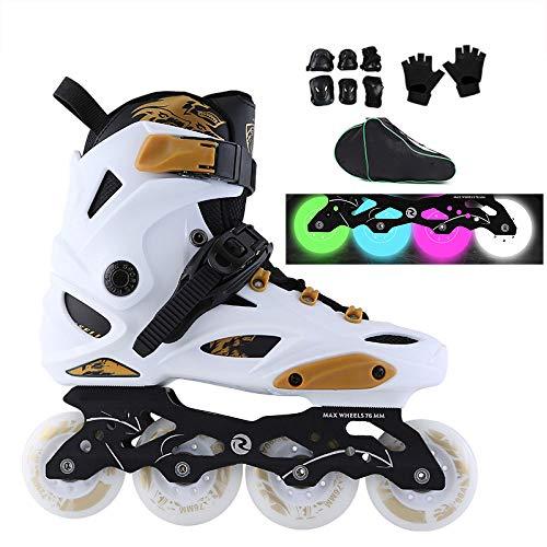 ZCRFY Inlineskates Mit Light Up Rädern Verstellbare Rollschuhe Einsteiger-Rollschuhe Fun Flashing Illuminating Roller Skates Für Kinder Jungen Und Mädchen,White-40