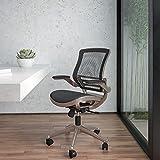 Flash Furniture Mid-Back - Silla de Malla con Marco de Color Dorado y Brazos abatibles, Metal, Negro...
