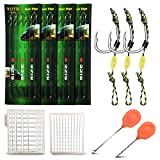 YOTO Carp Fishing Hair Rigs - 24Pcs High Carbon Steel Curved Barbed Carp Hook Swivel Boilies Fishing Rigs with Braided Thread Line Rolling Carp Fishing Accessories, Size #8