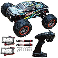 Body shell color is green blue black, as picture show.High speed oversize 1:10 scale RC trucks cars.Extra 1 Battery,2 shock absorber and 8 pcs body clip,and extra USB Charger cable.total include 2 battery in package. 【Double Motors,Strong Powerful】Eq...