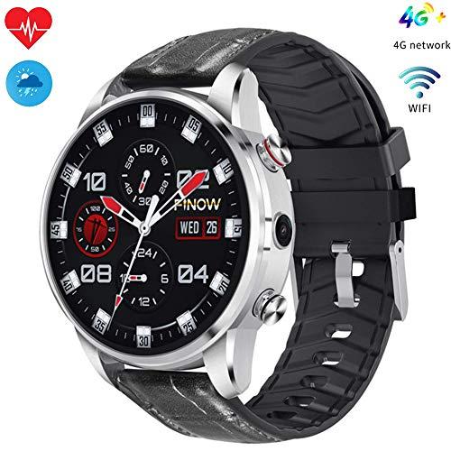Meteor fire 4G Smart Watch, GPS Bluetooth Fitness Tracker con Pantalla táctil HD IP67 Impermeable Óptico Monitor de frecuencia cardíaca Compatible con Temporizador Remoto - 16G RAM,Silver