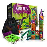 DIY jr Creepy Archi Tiles - Colorful Construction Magnetic Building Blocks with Bug Figures, Storage Bag, Fun Stickers, Tweezers - Creative Educational Toys for Toddlers, Kids, Boys, Girls - 100pc Set