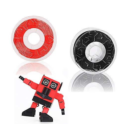 3d printer filament 3D transparent CP-PLA printer silk thread 1.75 mm, 3D printing silk thread 1 kg spool (2.2 lbs), no tangles, no clogging, no drawing Dimension accuracy +/- 0.05 mm, (red + black)