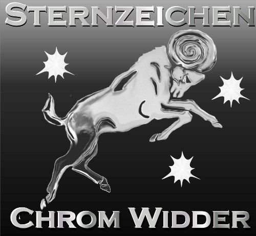 3D Sternzeichen Aufkleber Widder,Autoaufkleber, Chrom /Metalleffekt