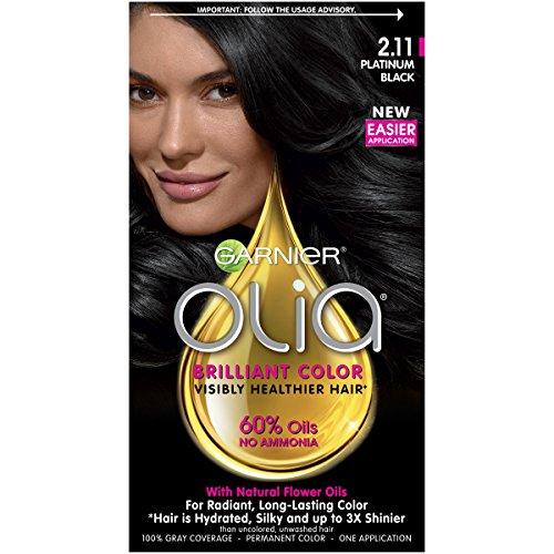 Garnier Olia Ammonia-Free Brilliant Color Oil-Rich Permanent Hair Color, 2.11 Platinum Black (Pack of 1) Black Hair Dye (Packaging May Vary)