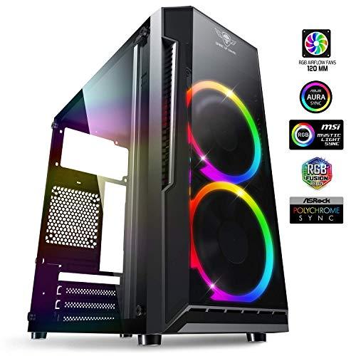 Spirit Of Gamer - DEATHMATCH 3 - PC Gaming Caja mATX/ITX - 2 Ventiladores LED RGB Direccionables 120 mm - Pared Lateral de Acrílico - ASUS Aura/MSI Mystic/ASROCK 3Pin