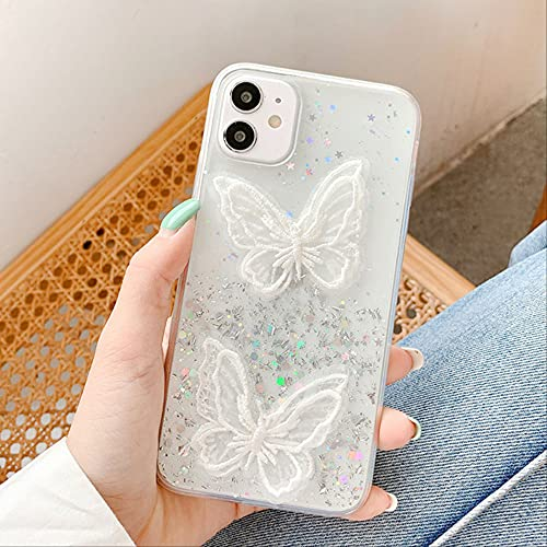 Funda 3D Cute Butterfly para iPhone XR Funda Glitter Bling Silicon Fundas para iPhone 11 12 Pro MAX 7 8 SE 2020 X XS 6 6s Plus Funda para iPhone XS Two Butterfly Silver