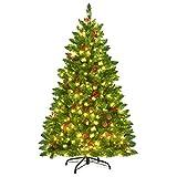 Costway Sapin de Noël Artificiel 135 cm, avec 516 Branches, Aiguilles en PVC, Arbre de Noël Artificiel avec Support Métallique Robuste, Pommes de Pin et Baies Rouges (135CM)