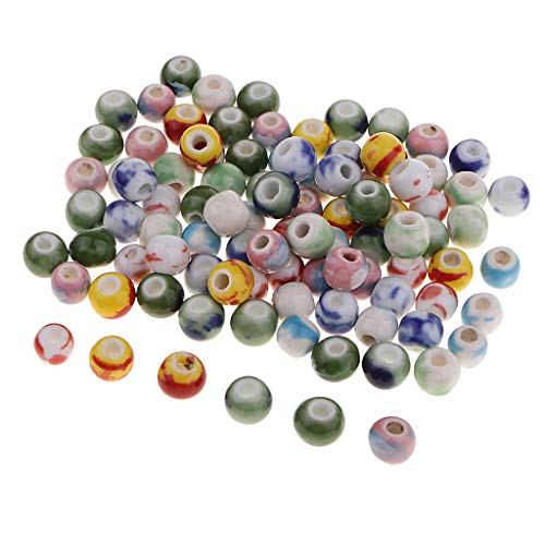 100 X 8 mm Cuentas Espaciadoras de Chinoiserie - Ceramica Esmaltada - Cuentas Redondas - Kit de Bricolaje Esmaltado - Color mezclado