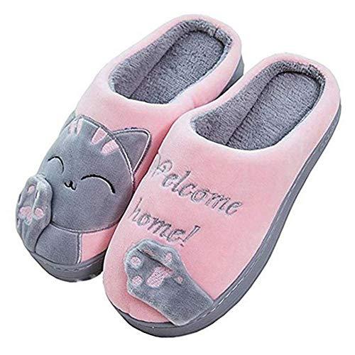 Zapatillas de algodón Mujer Invierno Hogar Interior Térmico Hogar Otoño e Invierno Zapatillas de algodón de Suela Gruesa Zapatillas de Felpa Antideslizantes Hombres-Gato Gris Rosa, 44-45