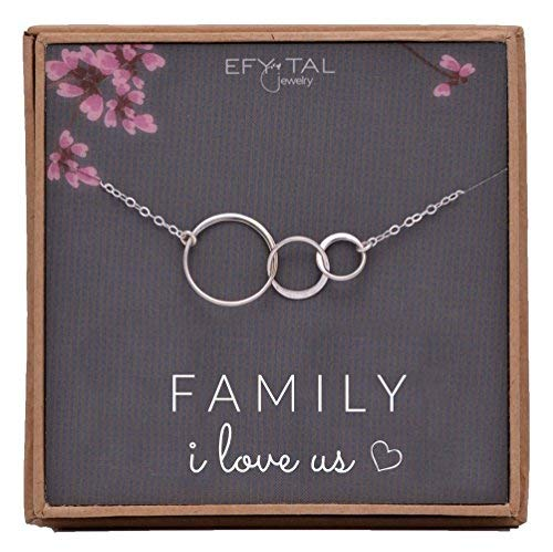 Product Image of the EFYTAL Family I Love Us Sterling Silver Necklace for new Mom Baby Three 3...