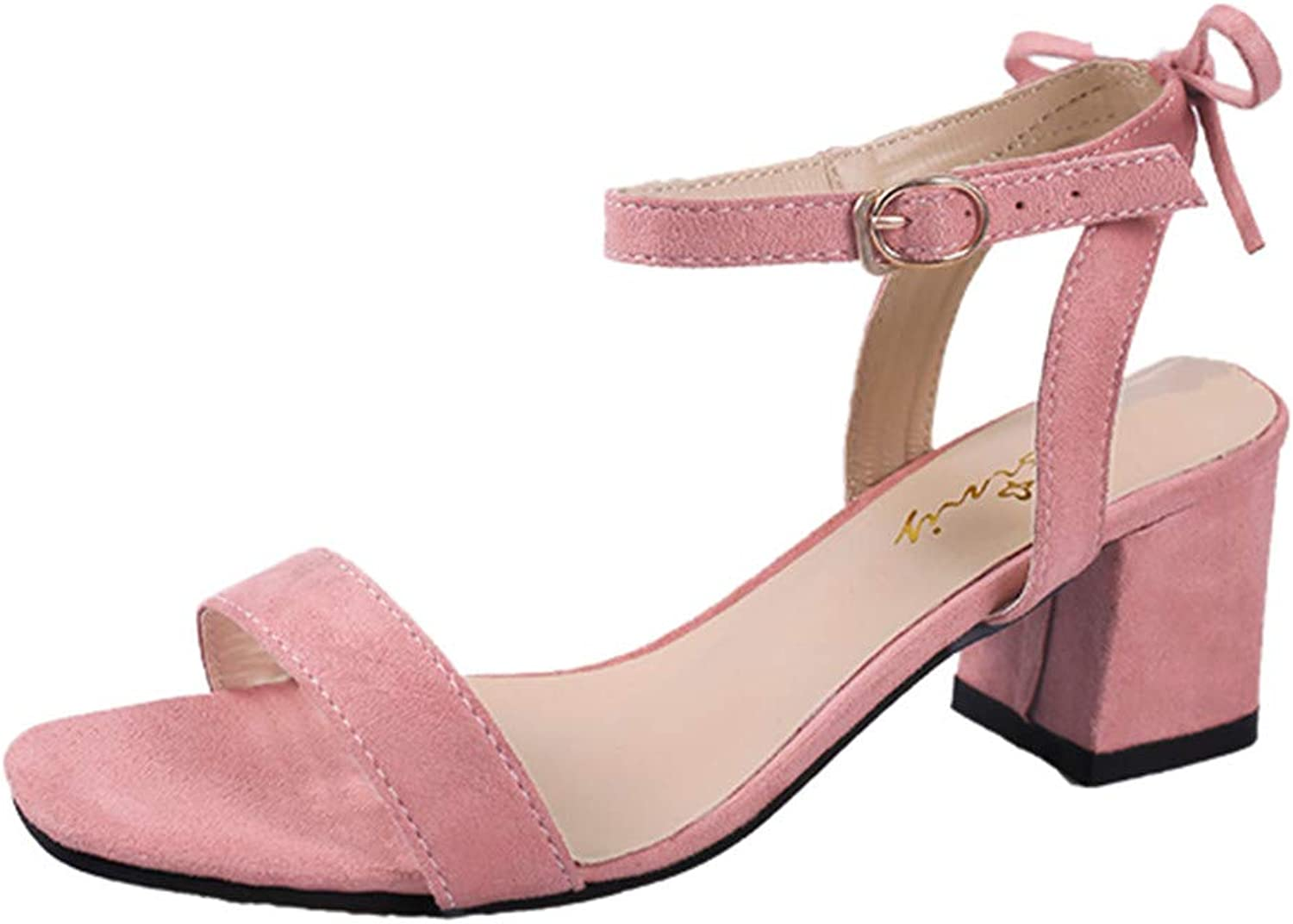 BOLUOYI 2019 High Heels for Women Women's Fashion Casual Solid Buckle Strap Square Heel Sandals Med Heel shoes Sandals Womens Heel Wedge