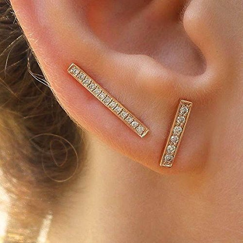 14k gold studs bar posts dash earings modern and dainty. Gold line earrings minimal
