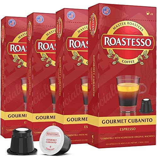 Roastesso Coffee, Gourmet Cubanito, Nespresso Compatible Capsules for OriginalLine Machines, Dark Roast Espresso Ristretto Pods, Intensity 9, Single Serve Cafecito De Cuba (40 Count)