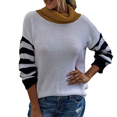 ZHUQI Sweaters Damen Pullover Damen Elegant Langarm Einfachheit Stricken Damen Sweaters Herbst Winter Neues Temperament All-Match Warm Komfort Damen Sweaters F-White S